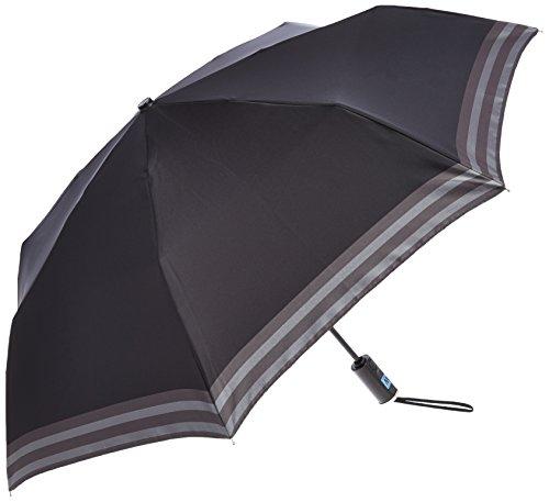 (ムーンバット)MOONBAT ランバン オン ブルー 紳士 自動開閉式 おりたたみ傘  無地にボーダーライン 21-084-07570-15 15-55 ブラック 親骨の長さ 55cm