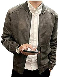 Sodossny-JP メンズ秋フォークススエード厚く暖かいコートジップアップボンバージャケットアウトウェア