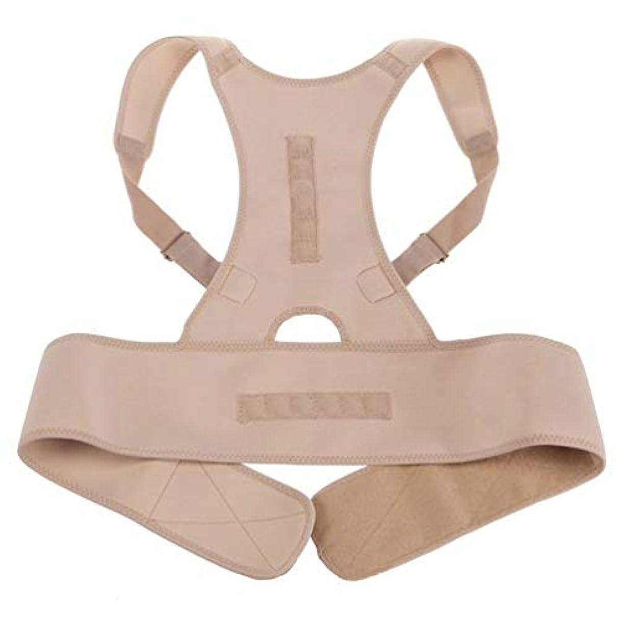 実際ネクタイ使用法ネオプレン磁気姿勢補正機能バッドバックランバーショルダーサポート腰痛ブレースバンドベルトユニセックス快適な着用 - 肌の色L/XL