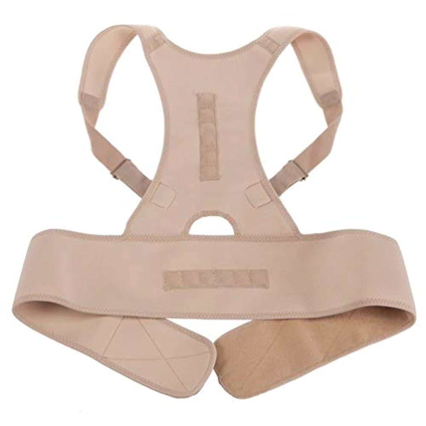 赤ちゃん転倒検証ネオプレン磁気姿勢補正機能バッドバックランバーショルダーサポート腰痛ブレースバンドベルトユニセックス快適な着用 - 肌の色L/XL