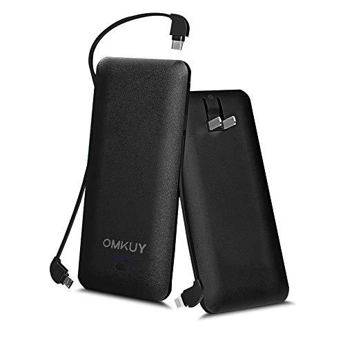 モバイルバッテリー 大容量 10000mAh 3ケーブル内蔵 2USBポート ライトニング/microUSB/type-cコネクタ スマホ充電器 急速充電 軽量 薄型 iPhone&iPad&Android各種対応 ブラック