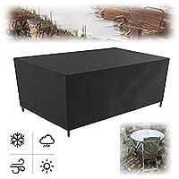 ガーデン屋外カバーテーブル YAYADU ガーデン家具カバー矩形 オックスフォード布防水引裂抵抗折り畳み可能テラス機械的、サイズはカスタマイズ可能 (Color : Black, Size : 200x160x70cm)