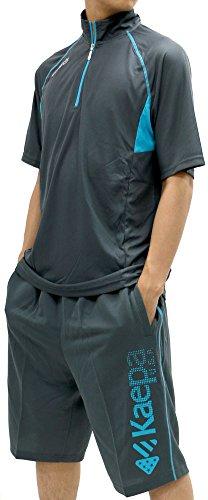 Kaepa(ケイパ) ランニングウェア 上下セット ドライ スポーツ Tシャツ ジャージ ショートパンツ メンズ チャコール M