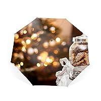 傘 ワンタッチ 自動開閉 折りたたみ傘 レディース傘 高強度 グラスファイバー 雨傘 日傘 耐強風 晴雨兼用傘 オシャレなストライプ模様 軽量クリスマスクッキーリボン 8本骨 耐風撥水 UVカット 加工済み 完全遮光 紫外線遮蔽率99%?