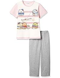 [スミッコグラシ]すみっコぐらし 女児綿混天竺パジャマ袋付きTスーツパジャマ(半袖トップス+7分丈パンツ) ガールズ