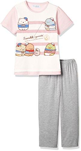 [すみっコぐらし] 女児綿混天竺パジャマ袋付きTスーツパジャマ(半袖トップス+7分丈パンツ) 70833RD