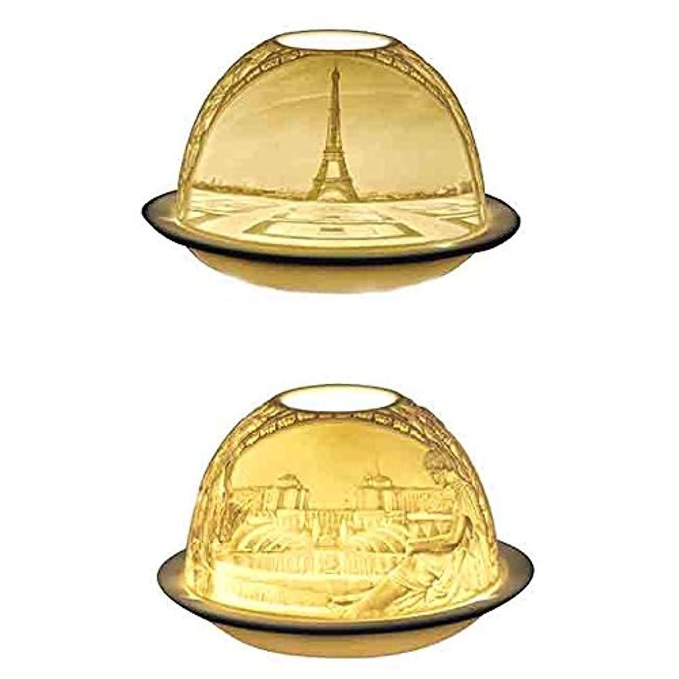 風景取得シダベルナルド[BERNARDAUD] キャンドル用リトファニー ランプ 「パリ エッフェル塔」フランス製 リモージュ