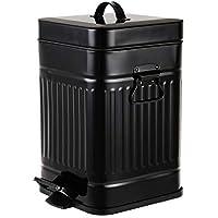 ゴミ箱 おしゃれ ごみ箱 5L ふた付き ペダル式 ソフトクローズ 音無し 防臭 小さい 場所とらない ごみ箱 オフィス用 寝室用 洗面所用 (四角形 ブラック, 5L)