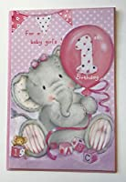 Elliot And Buttons Baby Girl's 1st Birthday Die-Cut Card 533057-1