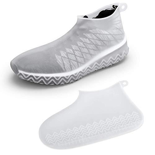 [BESTECHMAN] シューズカバー 防水 2019最新版 靴カバー シリコン アウトドア防水靴カバー 雨 雪 泥除け 梅雨対策 コンパクト軽量 携帯便利 滑り止め 耐摩耗 通勤 通学 自転車 登山 男女兼用 子供も適用 ホワイト S