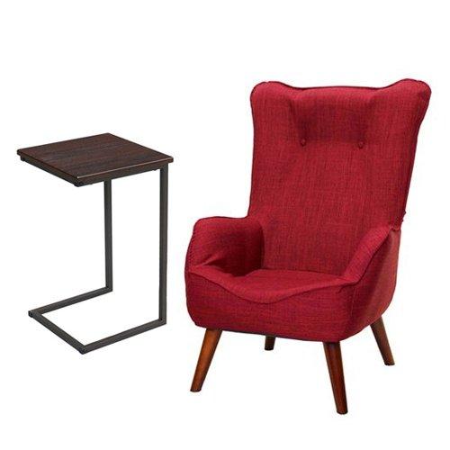 【セット買い】脚付き座椅子 なごみハイバックチェア NHBC-RD + サイドテーブル(小) GST3030-BR