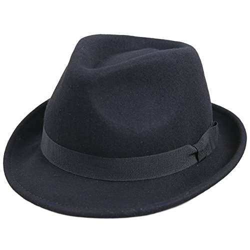 Sedancasesa ファッション小物 ハット メンズ 秋冬帽子 中折れハット (M, 黒)