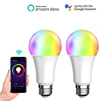 7W WiFiスマートLED電球調光対応RGB LED電球、スマートライフAPP(iOSおよびAndroid)、Amazon AlexaおよびGoogle Homeによるリモコン、2パック