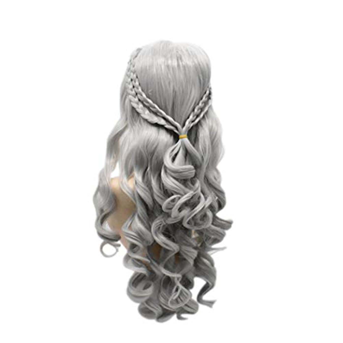 バングアブストラクト呼ぶ女性のための長い巻き毛のかつら気質顔ハイエンドのかつら自然に見える耐熱合成ファッションかつらコスプレ,Metallic