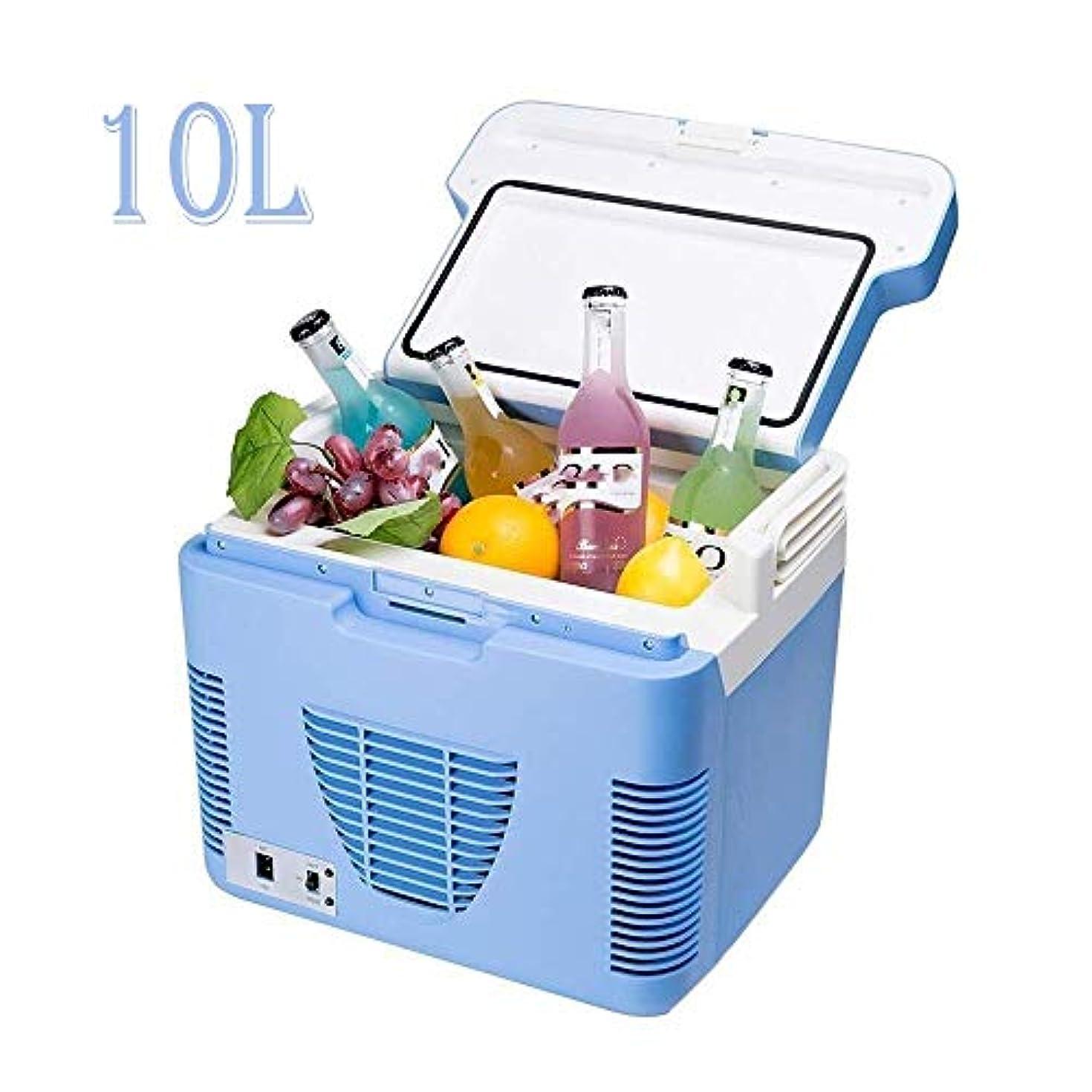 日記ロゴつぶす車の冷蔵庫、キャンプのポータブル旅行冷蔵庫10リットルクーラーヒーターヒーター電気冷蔵庫ミニ冷蔵庫フリーザー12v、旅行やキャンプに使用されます。