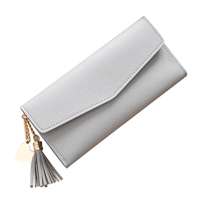 ハンドバッグ、Creazyレディースシンプルなロング財布タッセル小銭入れカードホルダーハンドバッグ グレー