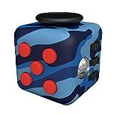 Tepoinn ストレス解消キューブ 持ち無沙汰を解消 不安 緊張 リリーフ ルービックキューブ おもちゃ 手持ちポケットゲーム 集中力を高める道具 fidget cube (迷彩ブルー)