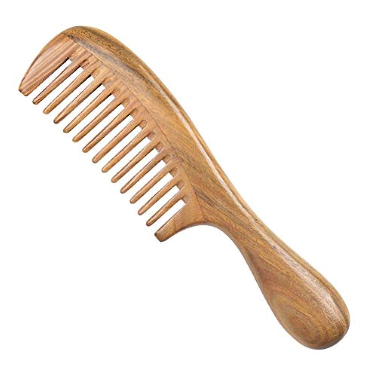 ヒューバートハドソン畝間意識的Guomao 緑のビャクダンの毛の櫛のマッサージのヘルスケアの木の櫛の厚さおよび薄い歯 (Size : 1)