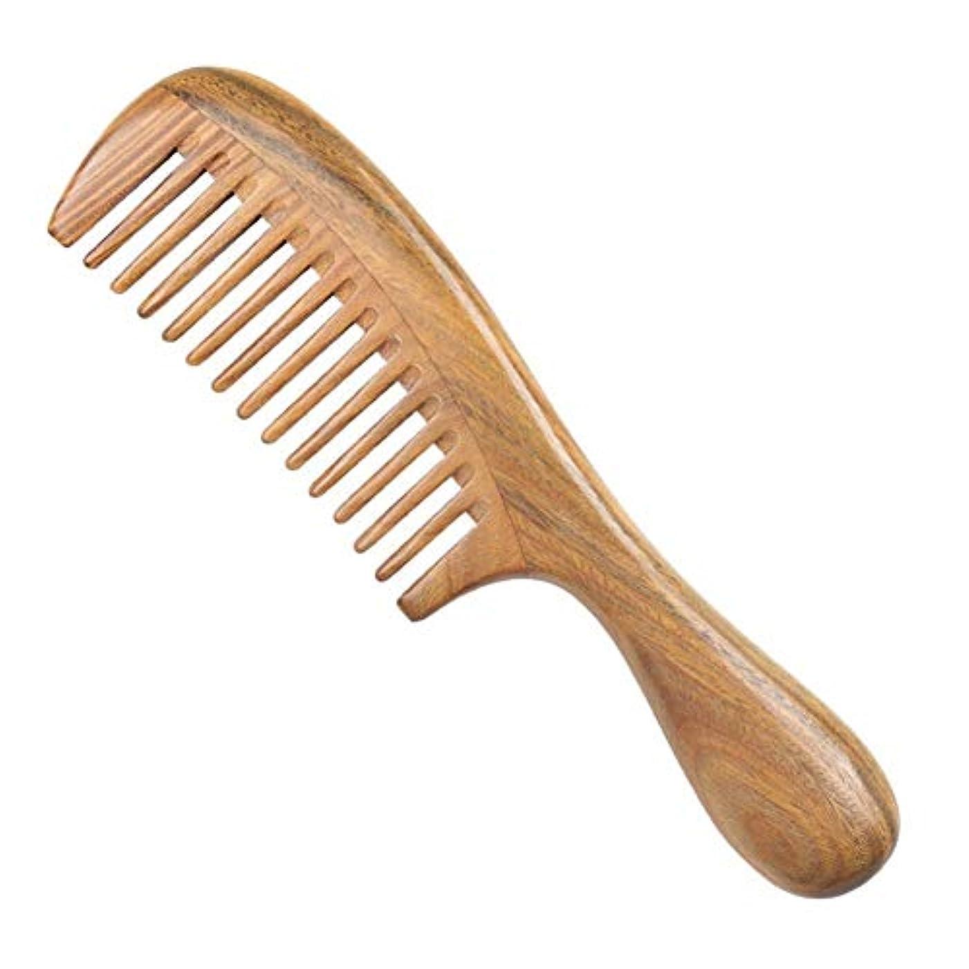 ヒゲクジラストレスの多いおとこGuomao 緑のビャクダンの毛の櫛のマッサージのヘルスケアの木の櫛の厚さおよび薄い歯 (Size : 1)