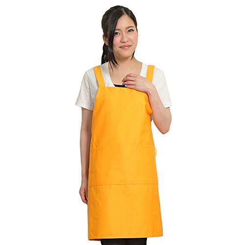 Next Step シンプルエプロン カフェエプロン シワになりにくい H型 男女共用 着丈90㎝【全13色】( イエローオレンジ / 黄色 )E9