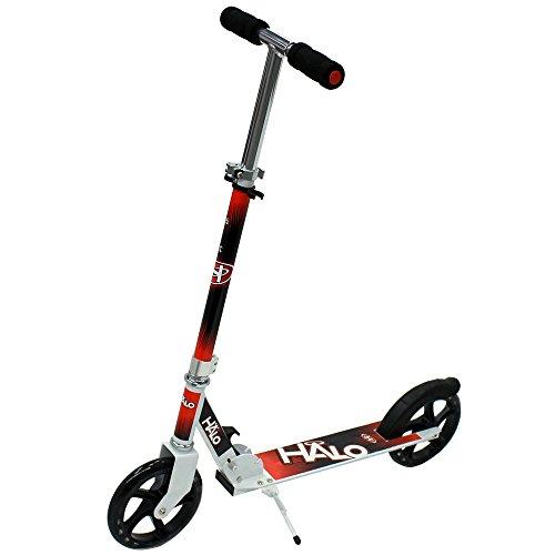 HALO(ハロ) Big Wheels Scooter キックボード キックスケーター [折りたたみ式/フットブレーキ付/ウィールABEC 5] … (レッド/ブラック)