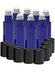 8 Pack - Essential Oil Roller Bottles [PLASTIC ROLLER BALL] 10ml Refillable Glass Color Roll On for Fragrance...