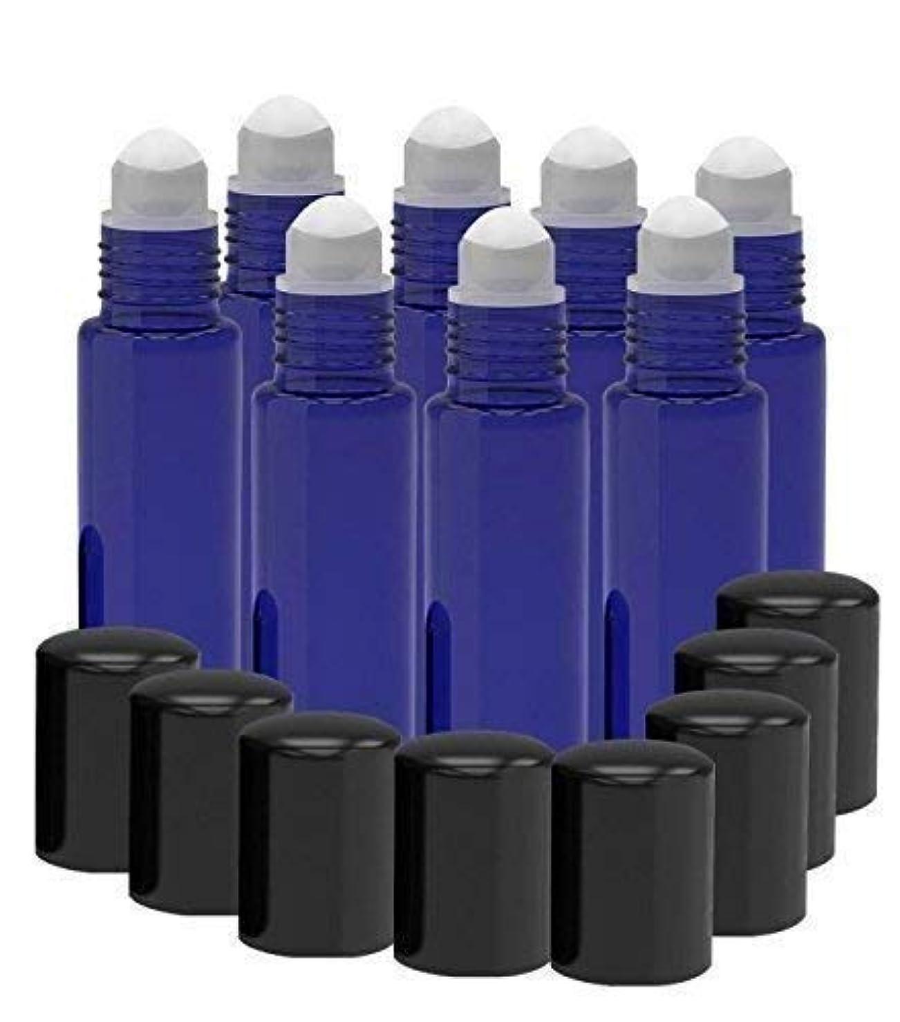 下手仲間、同僚前置詞8 Pack - Essential Oil Roller Bottles [PLASTIC ROLLER BALL] 10ml Refillable Glass Color Roll On for Fragrance...