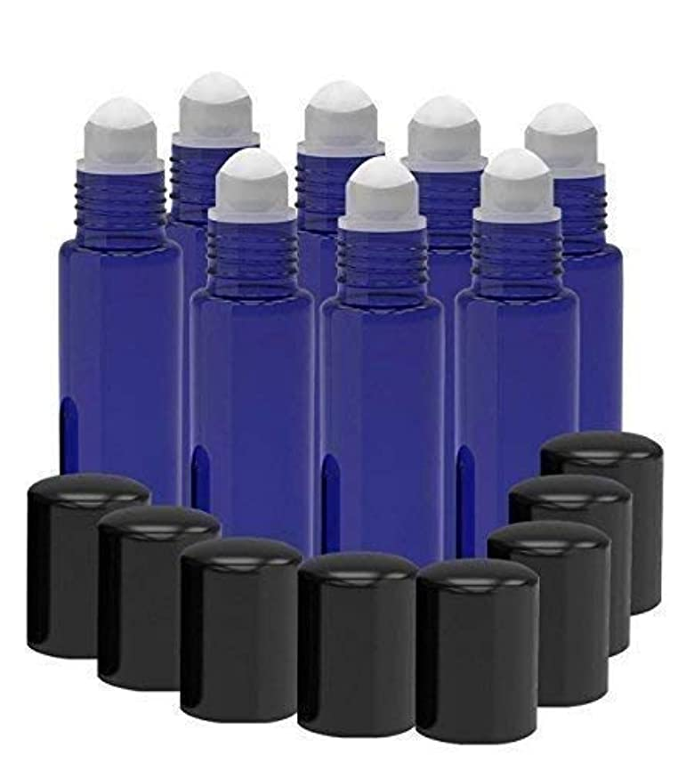 侵略最後の取り出す8 Pack - Essential Oil Roller Bottles [PLASTIC ROLLER BALL] 10ml Refillable Glass Color Roll On for Fragrance...