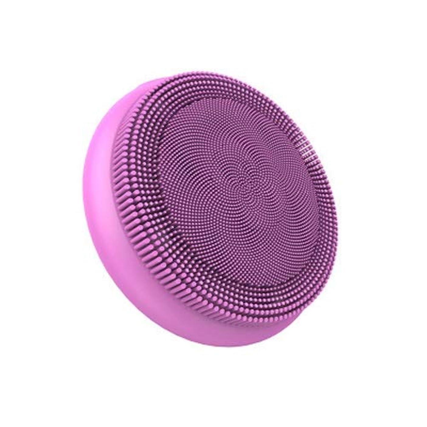 ポルティコ納得させる送ったLYX エレクトリックシリコーンソニッククレンジングブラシ、ブラックヘッドクレンジングバックル付き機器およびUSB、エクスフォリエイティング、ディープクリーニングツール (Color : ピンク)