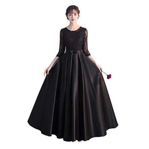 ドレス ロング 黒 ドレス 発表会 大人 レース フォーマル...