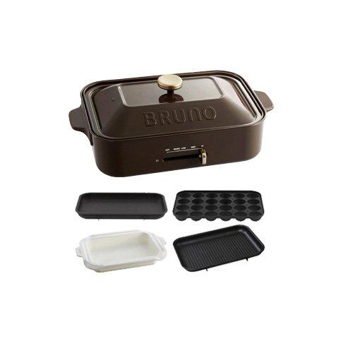 BRUNO コンパクトホットプレート+セラミックコート鍋+グリルプレート 3点セット (ブラウン)