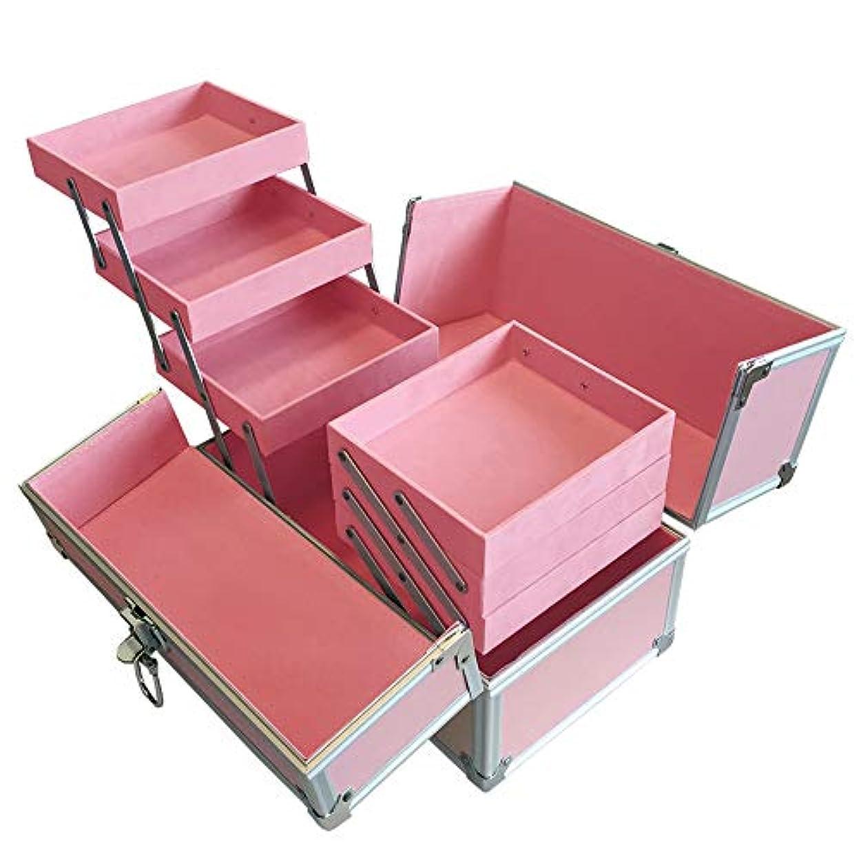 聖人熱ブリーフケースリライアブル コスメボックス RB003-PP 鍵付き プロ仕様 メイクボックス 大容量 化粧品収納 小物入れ 6段トレー ベロア メイクケース コスメBOX 持ち運び ネイルケース
