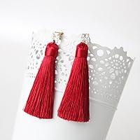 Vuage(TM) ヨーロッパスタイルボヘミアンシャイニーラインストーン分厚いロングタッセルピアス女の子のためのファッションイヤリング [赤]