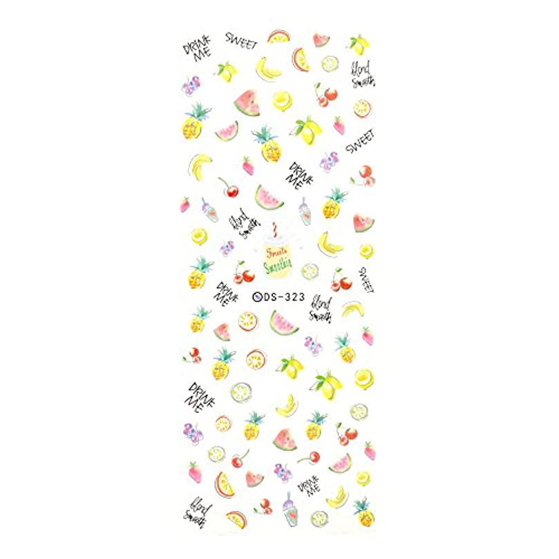 鬼ごっこマート薬理学ミックス フルーツ ネイルシール【DS323】 ウォーターネイルシール イチゴ すいか バナナ キウイ 英文字 ステッカー