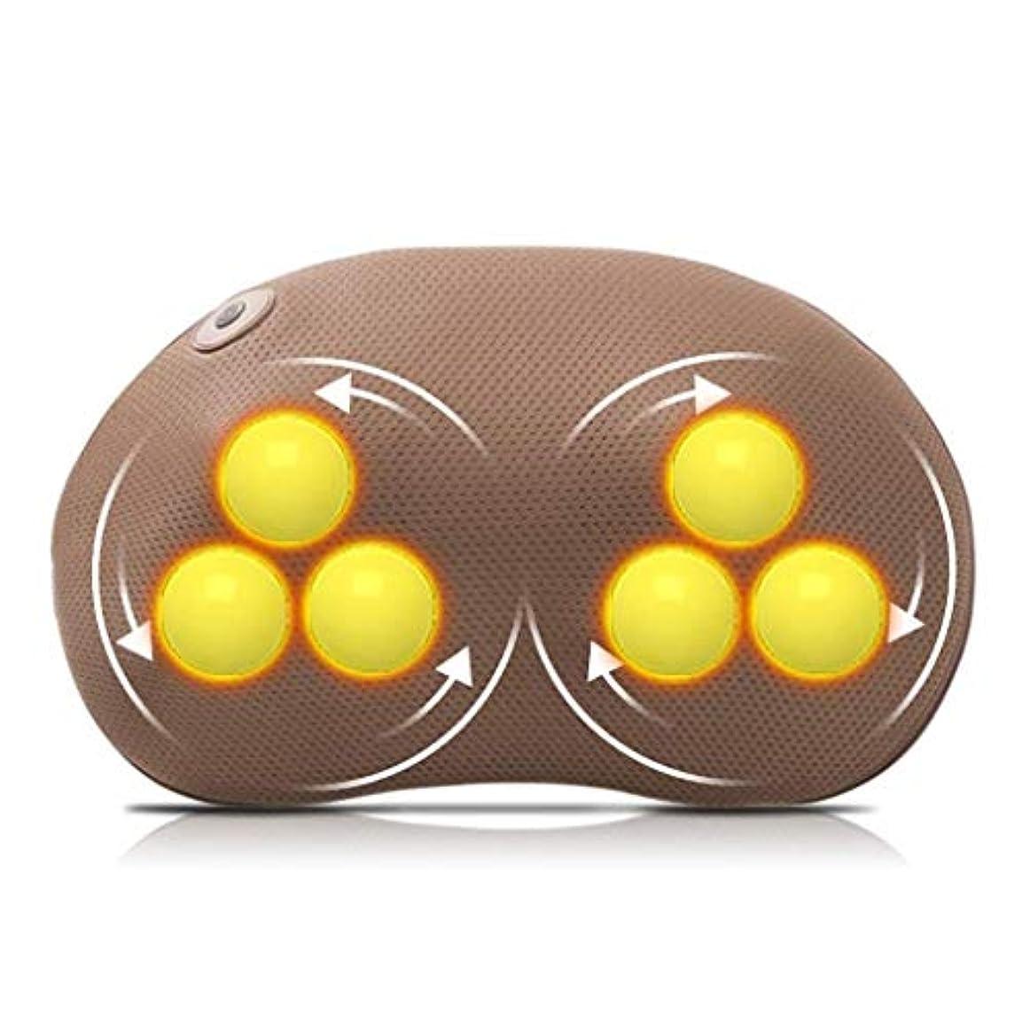 パイルシールド横にネックマッサージャー、フィンガープレスネックとバックマッサージピロー、加熱/振動/調整可能な速度/ポータブルKみマッサージ、ストレス緩和/痛み