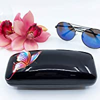 Savvy Breeze Eyeglasses Sunglasses Hard Case/Shell/Box Gloss finish with Butterfly, Portable PU Leather Black Shiny