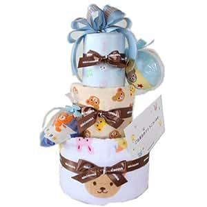 出産のお祝いに ミキハウス ガーゼバスタオルなど豪華6点付3段おむつケーキ (パンパースS, ブルー)