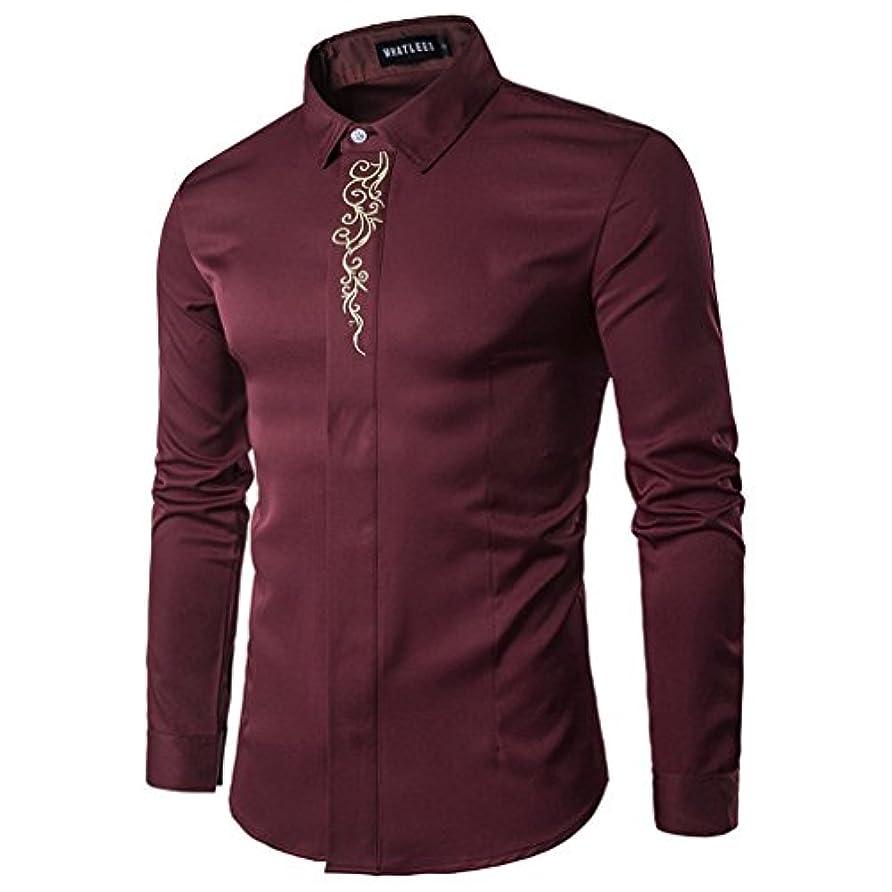 プレーヤー安定何Honghu メンズ シャツ 長袖 刺繍 多色 プリント  レッド M 1PC