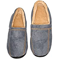 Deluxe Comfort Modern Moccasin Memory Foam Mens Slipper, Size 11-12 - Stylish Microsuede - Long Lasting Memory Foam - Warm Fleece Lining - Mens Slippers, Grey