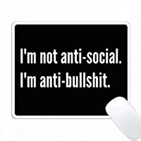 私は反社会的なIMを禁止していない黒い背景に白い文字を禁止 PC Mouse Pad パソコン マウスパッド