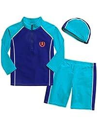UNOPRO 水着 男の子 長袖ラッシュガード UVカット キャップ付 3点セット 男児用水着 パンツ水着 セパレート 長袖トップス ハーフパンツ