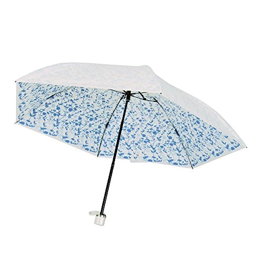 基礎よろしくカレンダープレミアム ホワイト 折りたたみ傘 手開き 遮光 遮熱 日傘/晴雨兼用傘 リエール 全3色 ブルー 6本骨 50cm UVカット 99%以上 軽量 コンパクト 3935BL
