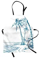 Beach Apron by Ambesonne, Modern Illustration of a Tropical Beach with Palm Trees and Hammock Hawaiian Relax, Unisex Kitchen Bib Apron with Adjustable Neck for Cooking Baking Gardening, Blue White [並行輸入品]