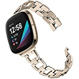 Joyozy Stainless Steel Metal Bands Compatible with Fitbit Versa 3&Fitbit Sense Smartwatch,Chic D Stylish Link Metal Wristband