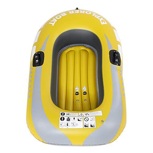 インフレータブルボート カヤック 厚さ0.3mm 1人用 耐荷重150kg 折りたたみ可能 イエロー インフレータブルカヌー 釣り用
