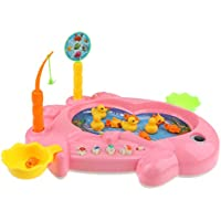 KESOTO 2色選ぶ 磁気釣り玩具 フィッシング玩具 子ども 磁気釣りプレイ バスおもちゃ 15個セット - ピンク