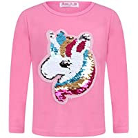 Aelstores Girls Unicorn Tops Brush Changing Sequin Tee Top Emoji Emoticon Face Kids Sweatshirt Jumper New Age 3-14 Years