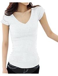 (アナトレ)Anotre レディース Uネック/Vネック 半袖 Tシャツ カットソー 無地 トップス( ホワイト、ブラック、グレー S M L XL XXL )