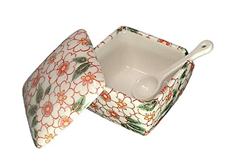 朱華柳 薬味入 日本製 陶器 スプーン付き 一味 塩 山椒 七味 うどん そば 豆板醤 辛子 業務用食器 ACSWEBSHOPオリジナル