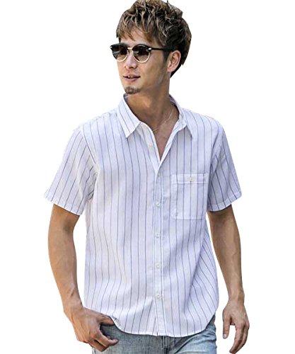 (アドミックス アトリエサブメン) ADMIX ATELIER SAB MEN メンズ シャツ 半袖 綿麻ワッフルストライプ半袖レギュラーシャツ 02-04-8595 48(M) サックス(45)